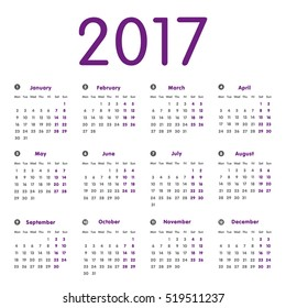Vector modern and simple calendar 2017, well arranged, in grey, purple. Eps 10 vector file.
