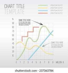 Vector modern simple chart - up, down, zig zag, line. Graph template. Use for analytic, business, presentation etc. Eps 10 vector file.