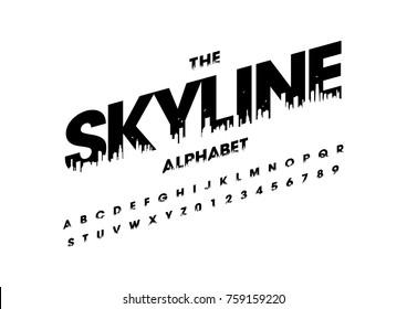 Vector of modern skyline font and alphabet