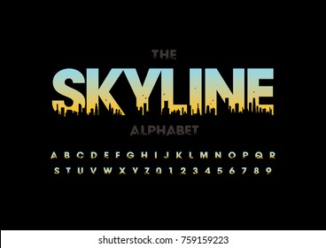 Vector of modern skyline font and alphabet