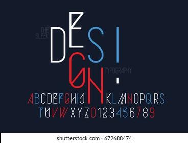 Vector of modern sleek font and alphabet