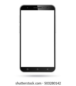 Vector modern smartphone mockup with empty screen. Perfectly detailed realistic smart phone, mobile phone, cellphone template isolated on white background.