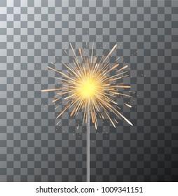 Vector modern sparkler on transparent background
