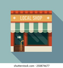 Vector modern square  flat design web icon on local shop, long shadow effect
