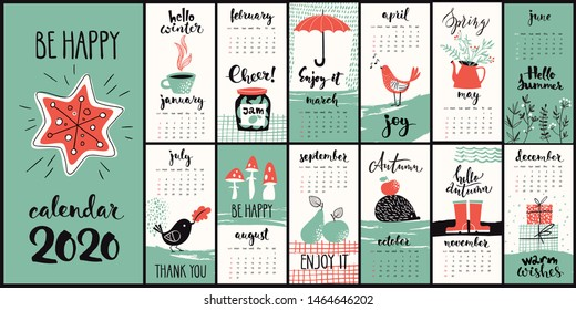 Vector modern style 2020 calendar with hand drawn monthly symbols and cool calligraphy.
