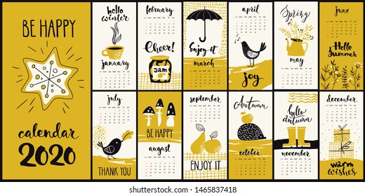Vector modern style 2020 year calendar with hand drawn monthly symbols and cool calligraphy in gold color
