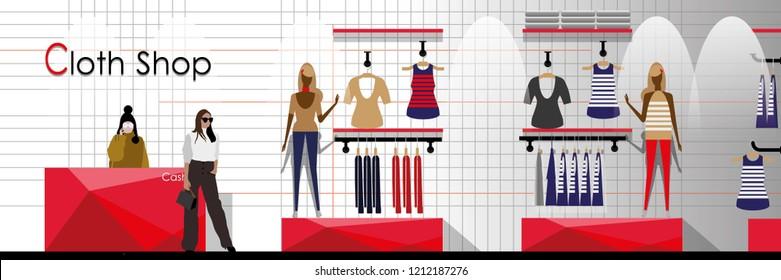 vector modern style clothing shop interior design