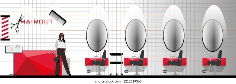 vector modern style hair cut studio interior decorate.beauty salon interior design