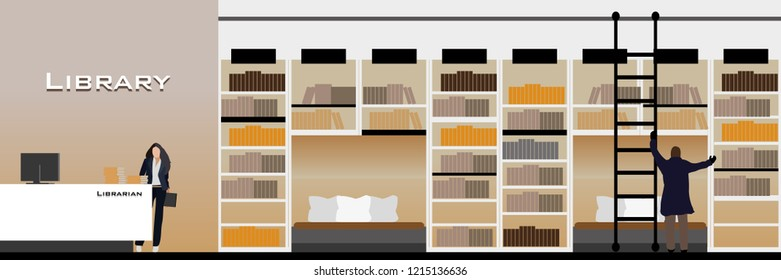 vector modern style library interior design decorate.