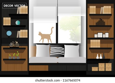 vector modern style library room on garden background