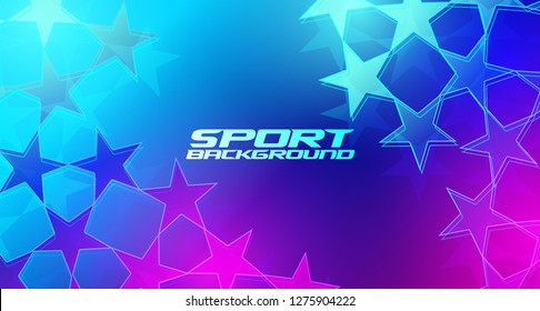 Vector modern stylish background. Sports background with abstract stars and frame for text in neon colors. great style for design of cards, flyers, covers, posters, booklets