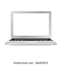 vector modern stylish slim laptop on white background