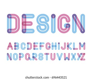 vector of modern stylized colorful font and alphabet with effect