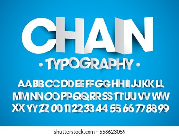 Vector of modern stylized paper font and alphabet