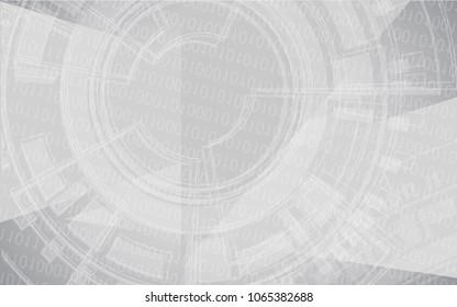 Vector modern technology background with binary code. White grey background for website, brochure, poster, flyer and magazine cover.