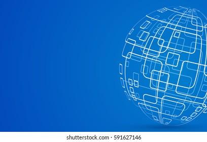 Vector modern techology concept background. global world backdrop