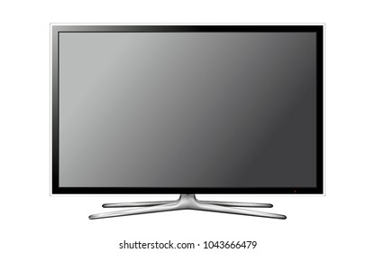 Vector modern television screen on white background
