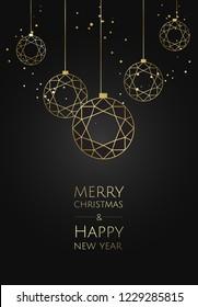 Vector modern template christmas card. Abstract christmas ball