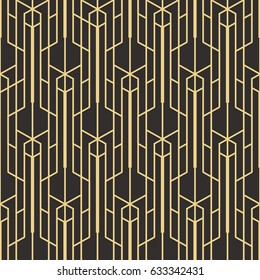 Vector modern tiles pattern. Abstract art deco seamless monochrome background