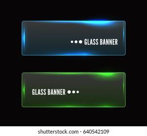 Vector modern transparent glass banner set, glossy