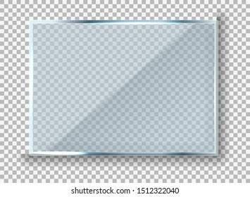 Vector modern transparent reflecting glass banner. Glass rectangle Plate Isolated On Transparent Background reflection 3d panel texture or clear window on display background frame