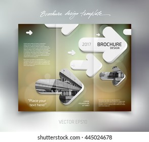 Vector modern tri-fold brochure design template with white rounded 3d arrows on blurred bokeh background