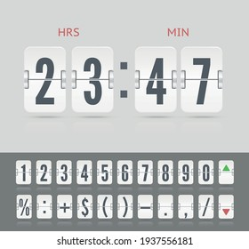Vector modern ui design for old time meter or calendar with numbers and symbols. White analog flip airport board for countdown timer on light background. Retro design scoreboard clock template.