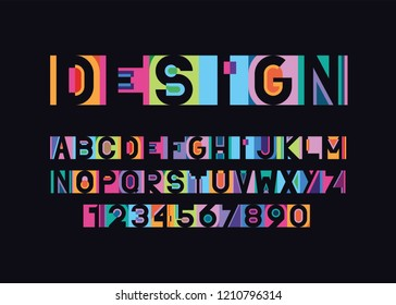 vector of modern vibrant font