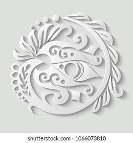 Vector modern volumetric floral elements. Trendy craft style illustration. 3d effect imitation