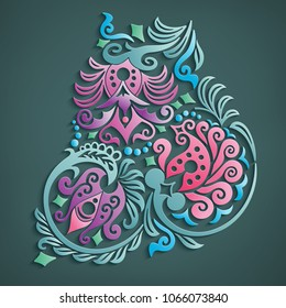 Vector modern volumetric floral elements. Trendy craft style illustration. 3d effect imitation