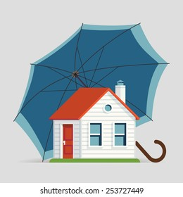 Vector modern web banner or printable poster design on home, residential real estate and accommodation insurance and protection with umbrella and small house icons