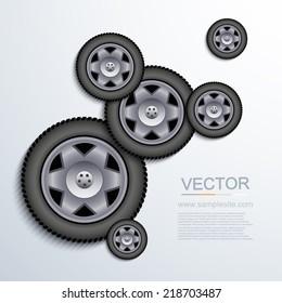 Vector modern wheels background. Eps 10 illustration
