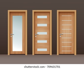 Vector modern wooden doors with glass in eco-minimalism style on wall of brown color