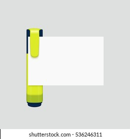 Vector modern yellow marker with white paper on gray background