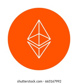 Vector modified symbol of digital crypto currency Ethereum, monochrome round line icon, simple color change