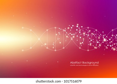 Vector molecule background, genetic and chemical compounds. Abstract connected lines with dots, medical, technological and scientific concept