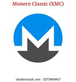Vector Monero Classic (XMC) digital cryptocurrency logo. Monero Classic (XMC) icon. Vector illustration isolated on white background.