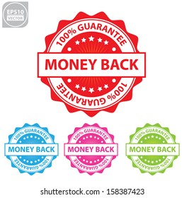 Vector : money back colorful sticker