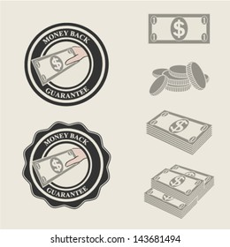 Vector money back guarantee icons and symbols of payment