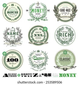 Vector Money Badge Set. Easy to edit, all pieces are separated.