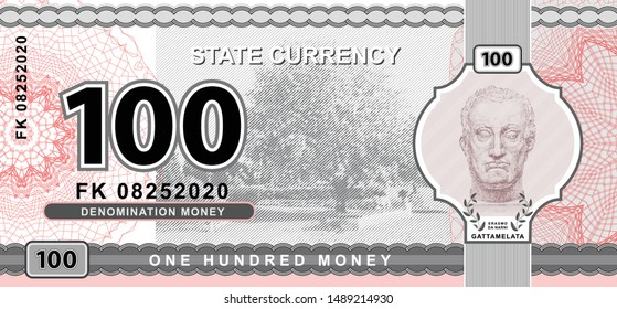 Vector money banknotes illustration with portrait of Gattamelata by Donatello. State currency. Back sides of money bills. Fake money. One hundred money