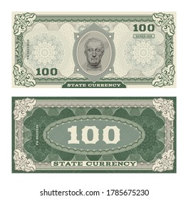 Vector money banknotes illustration with portrait of Gattamelata by Donatello classical statue . Side of money bills