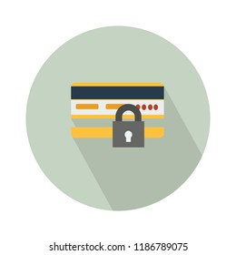 vector money cards icon. locked bank debit or credit card - security payment illustration
