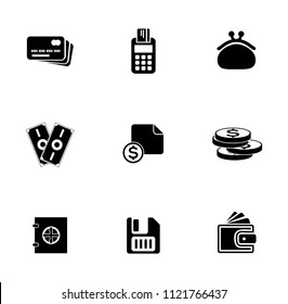 vector money collection - financial investment icons set, money payment. currency stock exchange sign symbols