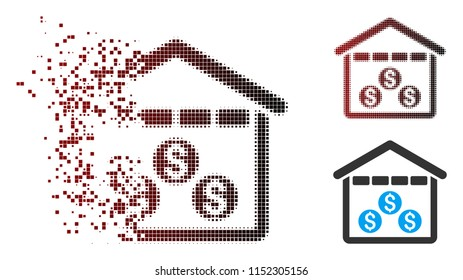 Vector money depository icon in sparkle, pixelated halftone and undamaged whole variants. Disappearing effect uses rectangle dots and horizontal gradient from red to black.