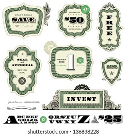 Vector Money and Financial Frame Set. Easy to edit. All layers are separated.