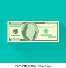Vector money flat icon. Hundred dollar currency banknote. 100 highly detailed dollar bill with long shadow isolated on blue-green turquoise background. 10 EPS vector file