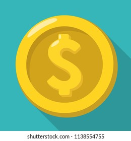 Vector money icon of a gold coin with the sign of the American dollar. Coin dollar illustration  in a flat style.