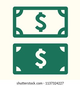 Vector money icon set of banknotes of American dollar. Dollar Bills in flat style.