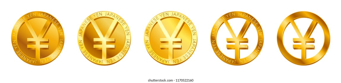 Vector money Japanese yen sign (Yen coin icon) isolated on white background. Golden JPY coin symbol design, Japanese currency banking concept illustration